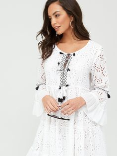 South Beach Broderie Anglais Kaftan - White , White, Size S, Women - White - S
