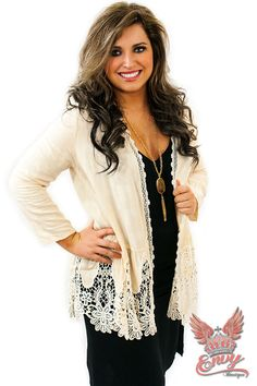 Knit Cardigan with Lace - Ivory - The Knit Cardigan with Lace trim from Envy Boutique is far from your basic knit cardigan, the detailed lace trim and edging really has this knit cardigan stepping things up a notch  | available at http://www.envyboutique.us/shop/knit-cardigan-lace-ivory/ |  #Envy #Boutique #fashion #fashiontrends