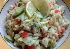 Lemon Orzo Veggie Salad with Chicken Recipe -  Very Delicious. You must try this recipe!