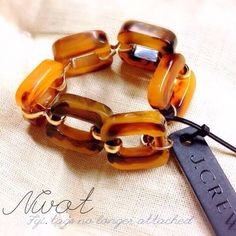 """NEW J.Crew Classic tortoise link bracelet NWOT // Clean and classic with a hint of shine, this lovely tortoise-link bracelet is a wear-forever (and with everything) favorite // 100% authentic jcrew // new without tags, but never been worn except to Santa """"thaaaaanks, but someone on posh will love this more than me"""" lol ((nwt photo was taken before re-gifting)) Final photo on wrists shows option on lighter skin vs dark for your convenience  Resin, metal. Shiny gold tone plating. Import. J…"""