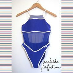 SALESexy High Neck Open Back Mesh Monokini Amazing style is cyclical. Nothing proves that more than this incredibly sexy, one of a kind bathing suit from 90's JAG.☀️ Bright blue w/white piping this suit boasts a trendy high neck, cutout open back, & mesh tummy. The perfect combination of classy yet sensual.Check out the details on this well made suit! Show off some skin in all the right ways in this unique piece. ⭐️Retail: $145! ⭐️NWOT! Bought New. 2 Small ⭐️92% Nylon, 8% Spandex ⭐️Vintage…