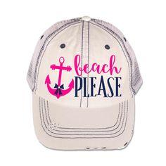 2232892e005 ... Hat - Custom White Mesh Trucker Cap - Monogrammed Trucker Hat - Beach  Please Anchor Hat - Denim Cap - Baseball Cap - by MamasDesignMadness on Etsy