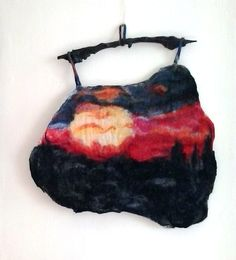 "Wall hanging art textile, Felt picture ""Sunset"", Felting wall art, ART tapestry, Christmas gift by MalinaLinART on Etsy"