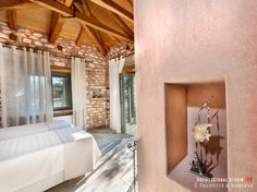 Bedrooms _ stone holiday house   sea   Pelion   Sporades   interior design   natural materials   local architecture   construction _ visit us at: www.philippitzis.gr Minimal Traditional, Mansion Hotel, Hotel Architecture, Wood Detail, Natural Materials, Minimalism, Bedrooms, Construction, Sea