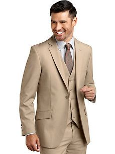 English Laundry Tan Check Modern Fit Vested Suit
