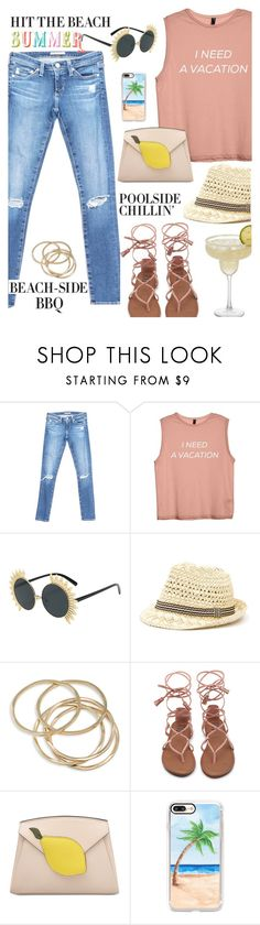 """Summer Vacation"" by juliehooper ❤ liked on Polyvore featuring AG Adriano Goldschmied, ABS by Allen Schwartz, Casetify, denim, sandals, polyvoreeditorial and SummerVacation"