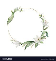 Watercolor vector wreath of lily flowers and green leaves. Logo Floral, Motif Floral, Flower Background Wallpaper, Flower Backgrounds, Wreath Watercolor, Watercolor Flowers, Christmas Wreath Illustration, Logo Fleur, Fond Design