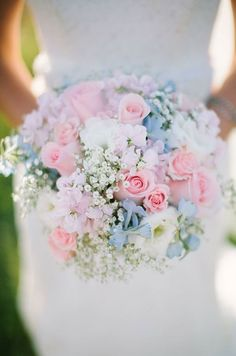 This bright bouquet of pink roses interspersed with gypsophila is sure to bring a smile to any brides face. Bridal Bouquets, Wedding Flowers, Floral Design