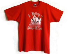 I Believe In Santa Claus T Shirt Christmas T Shirt Red Unisex X Mas Top L Sizt…