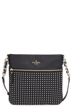 Embroidered dots pepper this slim Kate Spade crossbody bag detailed with touches of gleaming goldtone hardware that is perfect for holding the essentials. This classic black handbag with a twist will be a fabulous addition to the winter wardrobe. Tote Handbags, Purses And Handbags, Fashion Handbags, Tote Bags, Handbag Accessories, Fashion Accessories, Autumn Fashion 2018, Kate Spade, Crossbody Bag