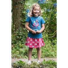This Fugi Spring skort will make kids want to run, jump and cartwheel all summer long! This skort, in a pretty raspberry pink daisy spot, is a skirt and shorts Cartwheel, Pink Daisy, Skort, Organic Cotton, Raspberry, Spring, Pretty, How To Make, Kids
