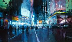 Jeremy Mann - Rooftops in the Snow Times Square Lights Ave. Night Hell's Kitchen Manhattan Nights The City Tempest The Last Light of San Francisco The Market Street Steamvent paintings by San Francisco painter Jeremy Ma Ville New York, Photo Cubes, City Painting, Rain Painting, Watercolor Painting, Colossal Art, Art Original, Original Paintings, Fine Art