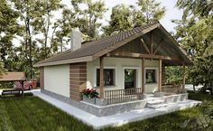 case pana in 100 mp cu 2 dormitoare Indian Home Design, Dream House Plans, House Floor Plans, Style At Home, Simple House Design, Village Houses, Sims House, Facade House, Home Fashion