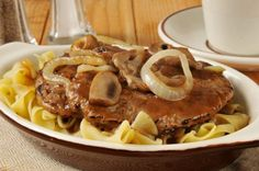 Salisbury Steak with noodles - ***This is one of the easiest and possibly nicest Salisbury recipes that I've found - Brandon
