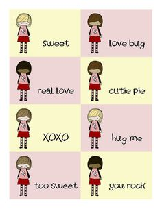 "Imaginats Free Printable ""girl"" valentines!  Awesome! Backs, too.  #craft #make #cards"