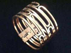 RENOIR Modernist Copper Wide Hinged Bangle Bracelet