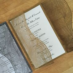 Laser Cut Wedding Invite - Ginkgo - A9 Gatefold - Thermography Printed
