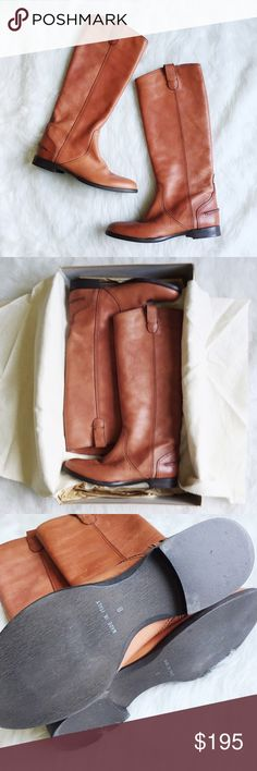 """HP! Madewell Archive Boots in English Saddle These are the Holy Grail leather boots from Madewell! When I was on the hunt for the perfect flat leather boot, I found them in the Archive boot. Genuine Italian leather. Size 8. New in box and never worn, but the box has seen better days, it's kind of falling apart. Retail: $298 ---- For the best fit, order a half size smaller than your usual size. •Hits above calf. •Italian leather upper. •15 1/2"""" shaft height (based off size 7). •14 1/4"""" shaft…"""