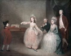 A Family Party: The Minuet painted by an artist in the circle of Johann Zoffany, c. In the Kelvingrove Art Gallery and Museum, Glasgow. 18th Century Clothing, 18th Century Fashion, The Duchess Of Devonshire, Glasgow Museum, Baroque, Art Ancien, Indigenous Art, Art Uk, Just Dance