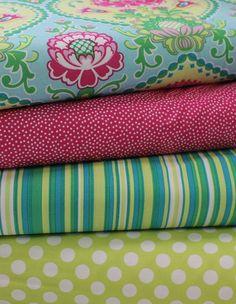 Fabric Combos & Ideas - Pretty Michael Miller Floral Print w/Coordinates (3-18-13)