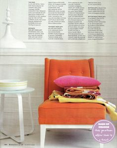 Orange Jonathan Adler chair (via Red mag)