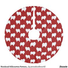 Keeshond Silhouettes Pattern Red Brushed Polyester Tree Skirt