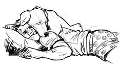 "maskedfangirl: Intergalacticju requested Hawkeye and Pizza Dog, so here's some ""I slept on your head because I love you"" dog snuggles."