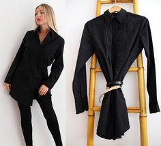 90s Cotton SHIRT Dress/Retro Oversized Shirt by VintageDeMar