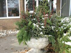 A winter planter design by Barrett Lawn Care. #winterdecor #winterplanter