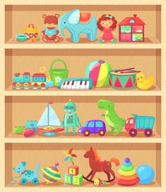 Buy Cartoon Toys on Wooden Shelves by tartila on GraphicRiver. Cartoon toys on wood shelves. Funny animal baby piano constructor girl doll and ball robot plush bear colorful vintag. Toy Shelves, Wooden Shelves, Baby Piano, Piano Girl, Muñeca Diy, Cartoon Toys, Baby Cartoon, Toy House, Kids Learning Activities