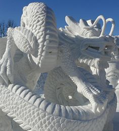The winner of snow sculpture contest of 63rd Sapporo Snow Festival (Leaping Dragon from Hong Kong)