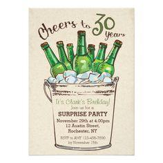 Surprise Birthday Invitations Cheers to 30 years Birthday Invitation