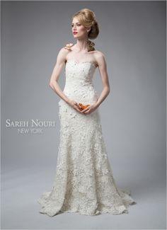 strapless trumpet wedding gown by Sareh Nouri