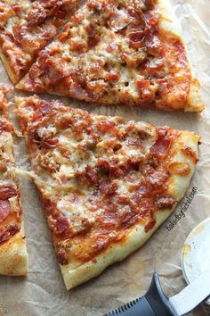 Homemade thin crust meat lovers pizza recipe from Rachel Baked by Rachel Meat Pizza, Sauce Pizza, Meat Lovers Pizza, Pizza Bake, Crust Pizza, Pizza Hut, Pizza Dough, Great Recipes, Favorite Recipes