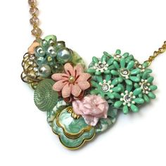 Pink Green Necklace Vintage Wedding Necklace