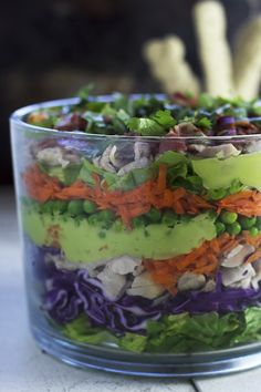 Healthy Layered Salad - Egg and Dairy free!    Isn't this great!!