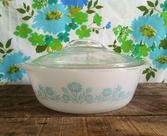 Vintage 1950s Glassbake Aqua Floral Baker on Etsy, $23.50