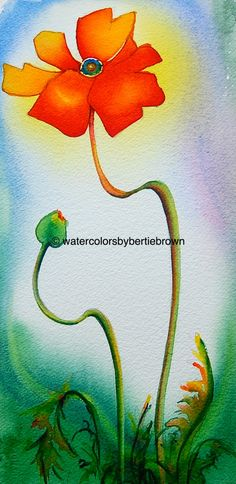 Watercolors by Bertie Brown: Poppies and Pot-pour-ri