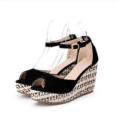 Extreme Fashion Designer Brands 2015 New Open Nice Shoes For Women Peep Toe High Heels Wedge Buckle Strap Flatform Korean