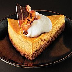 Pumpkin-Hazelnut Cheesecake | MyRecipes.com.  Used toasted, spiced hazlenuts for the topping, also subbed marscapone.  Delicious! Used kasmiri garam masala instead of the spices, too.  The cake would make a really nice daquoise style dessert with buttercream and ganache,