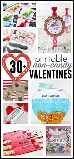 Oh my goodness!  So many cute ideas!  30+ Non-Candy Valentines (Printable Valentines for Kids) Valentines Day Activities, Valentines Ideas For School, Kids Valentines, Valentine Sayings, Cute Valentine Ideas, Printable Valentine, Printable Tags, Valentine Treats, Valentine Day Love