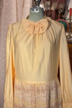 Vintage 1960's Yellow Bow  Blouse Dress by TheTarrowBoutique, $35.00