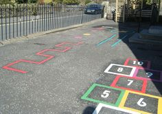 painted playground games  | New markings have been painted on the playground and a climbing wall ...