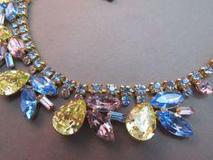 "VTG Juliana Rhinestone Necklace 16"" Collar Dangle Yellow Tear Drop Blue Navette #Collar SOLD!"