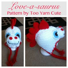 This is a Two-In-One Pattern! You can crochet a regular Dino for your Dino Lovin' Child and do one up for them for Valentine's Day! With the right colors this looks great on both boys and girls!