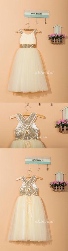 Round Neckline Sequin Tulle Flower Girl Dresses, Cheap Flower Girl Dresses, LB0921 #okbridal #flowergirldresses