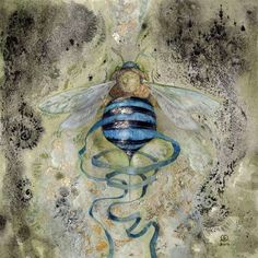 "shadowscapes-stephlaw: "" ""Unravelling"" - a little #bee #watercolor #painting prints here: http://ift.tt/2cjDg8B """