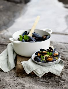mussels and herbs...