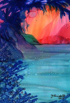 Magical Na Pali Coast 2 Original Alcohol Inks on by kauaiartist