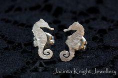 Sterling silver seahorse stud earrings by JacintaKJewellery